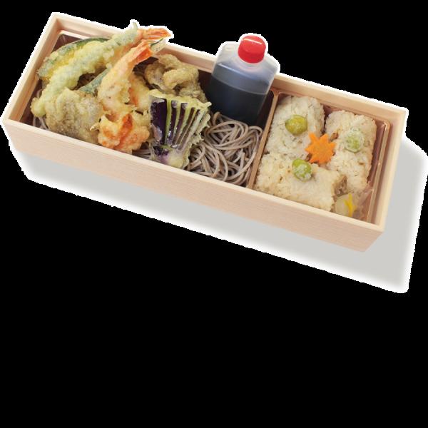 季節の天ぷらそばと鶏めし